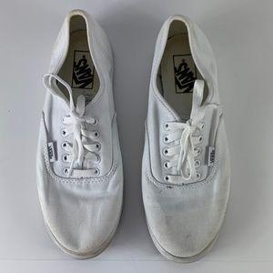 VANS White Lace Up Shoes Sz 9 Canvas 721499
